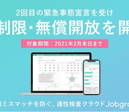 適性検査クラウド「Jobgram」、新規導入企業は無償・無制限の利用が可能に