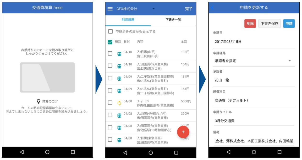ICカードから乗降履歴を自動取得する新アプリ「交通費精算 freee」