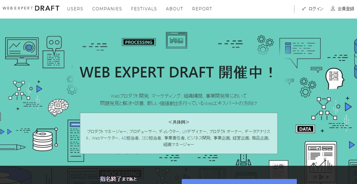 ウェブ業界特化型「転職ドラフト」、「第1回 ウェブエキスパートドラフト」開催