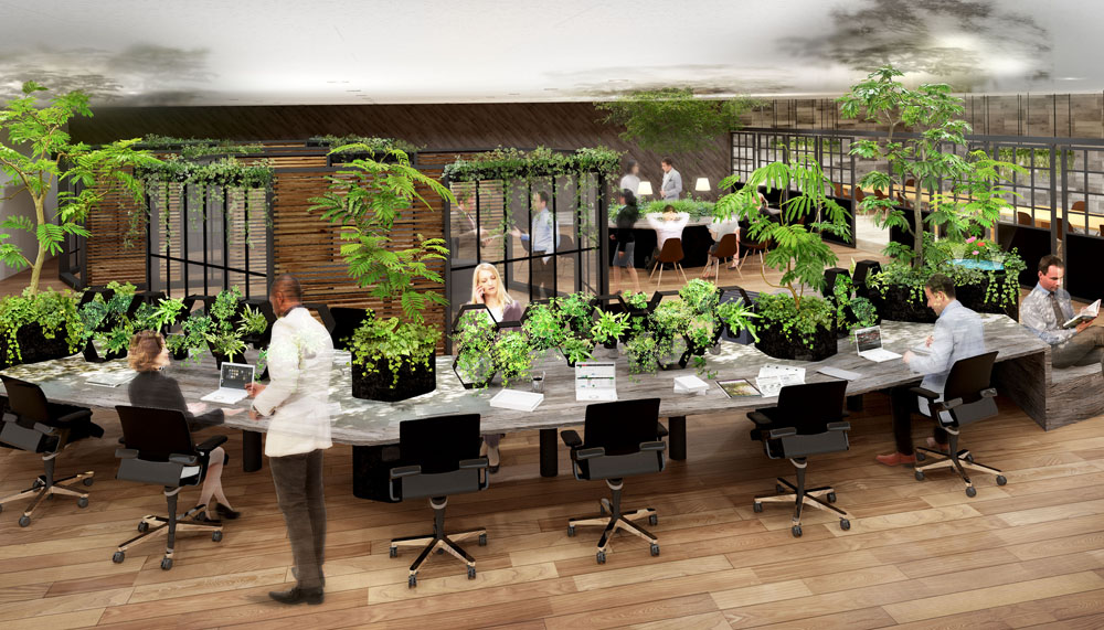 オフィス緑化サービス「COMORE BI」、空間音響デザイン「KooNe」とコラボ