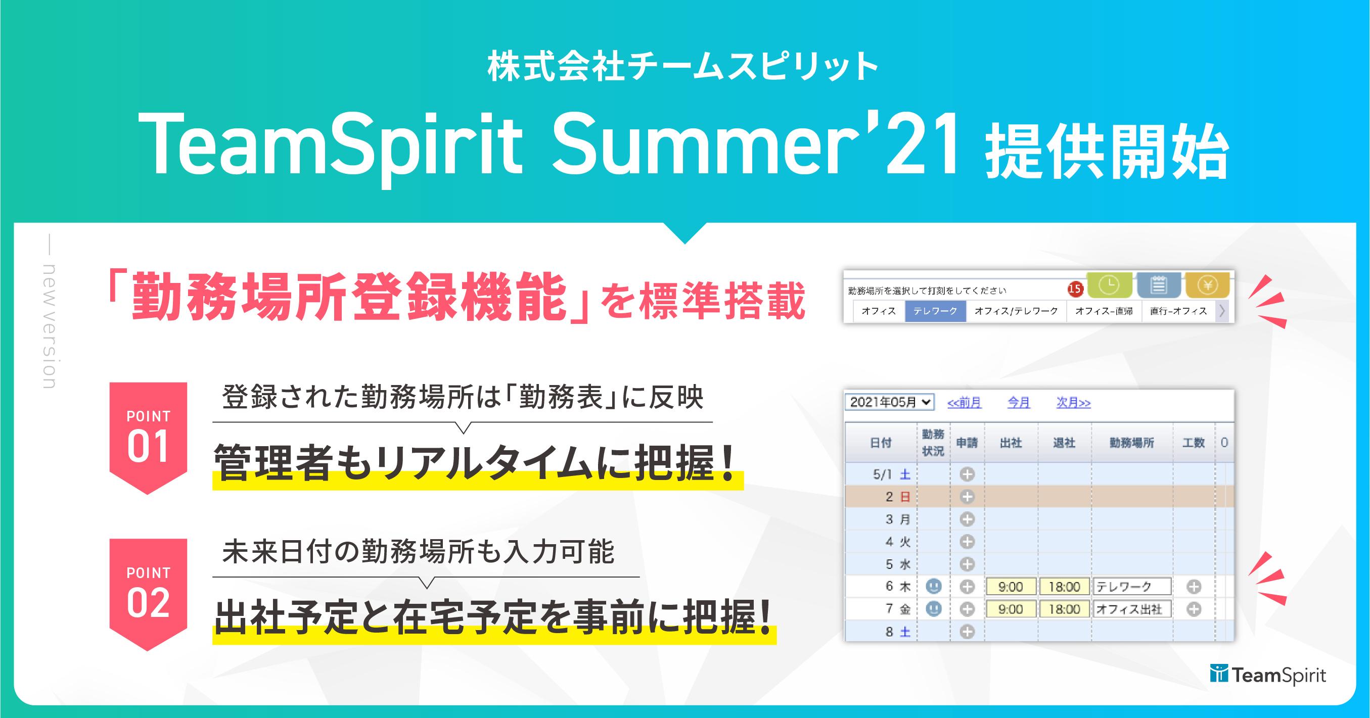 テレワーク対応を強化した「TeamSpirit」新バージョン登場